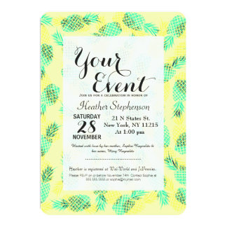"Neon Yellow and Green Tropical Hawaiian Pineapples 5"" X 7"" Invitation Card"
