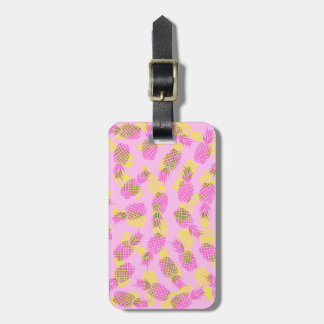 Neon Yellow and Pink Tropical Hawaiian Pineapples Luggage Tag