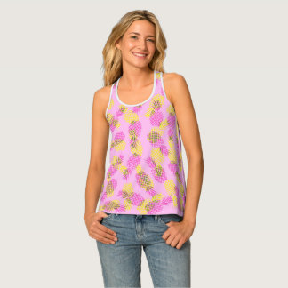 Neon Yellow and Pink Tropical Hawaiian Pineapples Tank Top