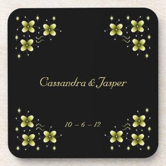 Neon Yellow Flower Sparkles Coaster