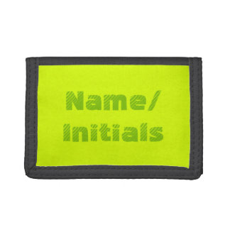Neon Yellow Green Chartreuse Personalized Tri-fold Wallet