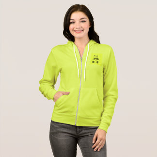 Neon Yellow Green Fleece Zip Hoodie With Panda