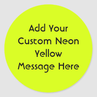 Neon Yellow, High Visibility Classic Round Sticker