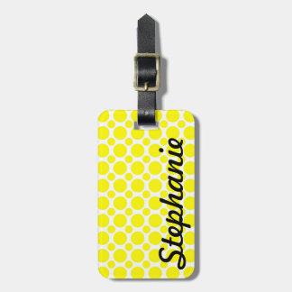 Neon Yellow Polka Dot Monogram Luggage Tag