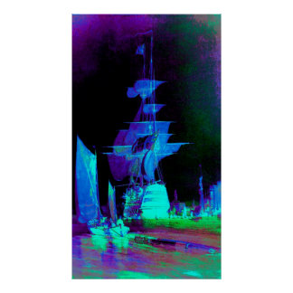 Neon Yellow Sails on a Moonlit Night Poster