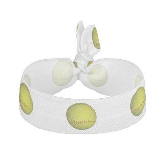 Neon Yellow Softball Pattern Hair Tie