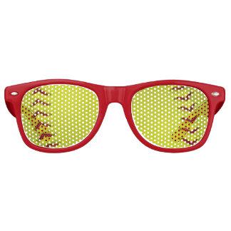 Neon Yellow Softball Retro Sunglasses