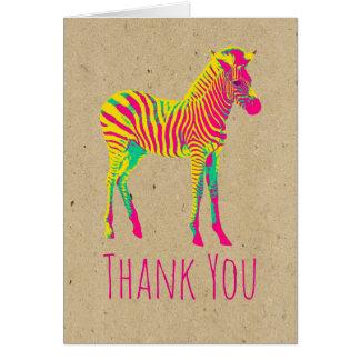 Neon Zebra Baby Animal Funky Retro Thank You Card