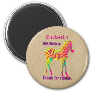 Neon Zebra Baby Animal Psychedelic Birthday Thanks 2 Inch Round Magnet