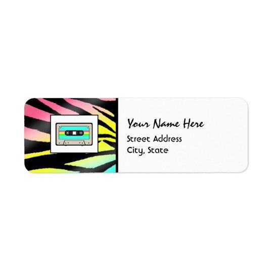 Neon Zebra Print & Cassette Tape Address Labels