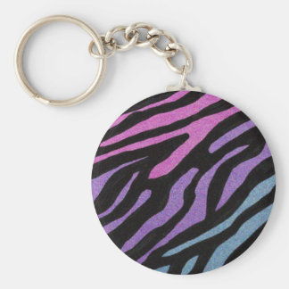 Neon Zebra Print Keychain
