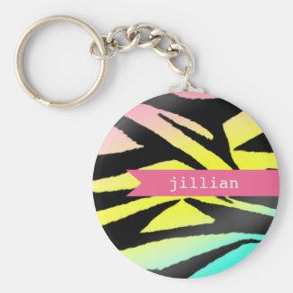 Neon Zebra Print Personalized Keychain