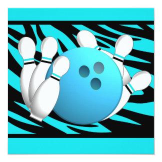 """Neon Zebra Stripe Bowling Party 5.25"""" Square Invitation Card"""