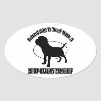 NEOPOLITAN MASTIFF DOG DESIGNS OVAL STICKER