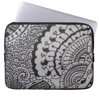 Neoprene laptop sleeve with henna design