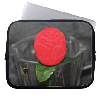 Neoprene small pocket computer port Red rose Computer Sleeve