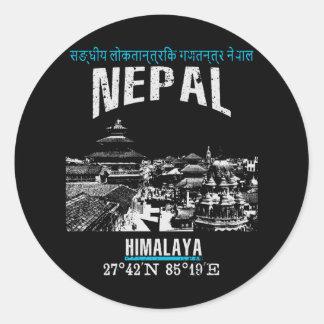 Nepal Classic Round Sticker