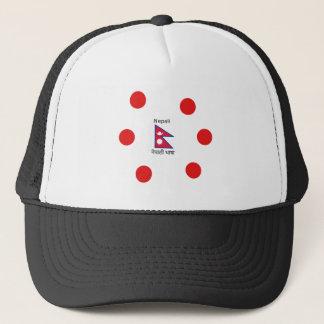 Nepal Flag And Nepali Language Design Trucker Hat