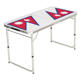 Nepal Flag Beer Pong Table