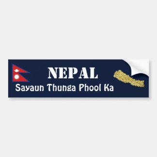 Nepal Flag + Map Bumper Sticker