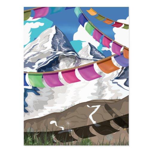 Nepal Himalayan Prayer Flags Travel poster Postcards