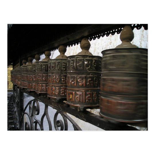 Nepal prayer wheels postcard