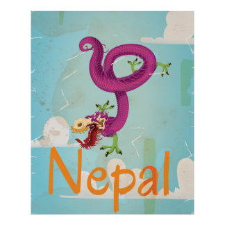 Nepal Vintage Travel Poster