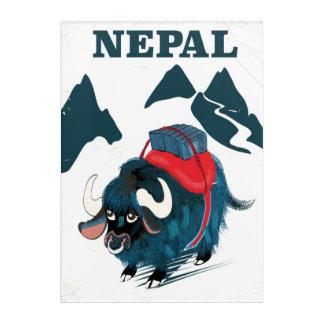 Nepal Yak vintage style travel poster Acrylic Wall Art