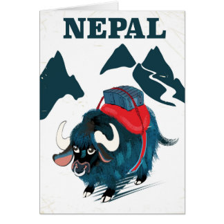 Nepal Yak vintage style travel poster Card