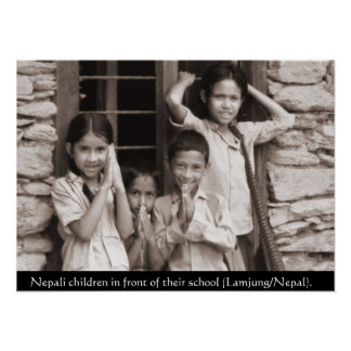 Nepali children in front of their school poster