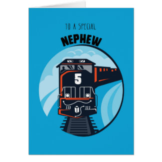 Nephew 5th Birthday Train, Little Boy, Blue Card