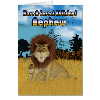 Nephew Birthday Card - Lion And Cub
