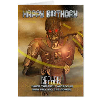 Nephew Birthday Card With Cyborg - Modern Robot