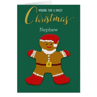 Nephew Christmas Gingerbread Man Santa Card