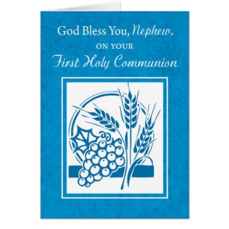 Nephew First Communion, Wheat Grapes Blue Card
