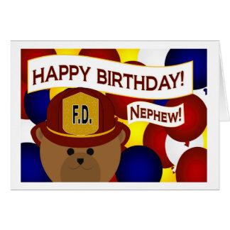 Nephew - Happy Birthday Firefighter Hero! Greeting Card