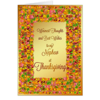 Nephew, Thanksgiving wishes with fall leaves Card