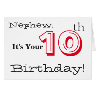 Nephew's 10th birthday greeting in red and black. card