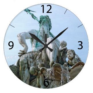 Neptune Fountain in Berlin Large Clock