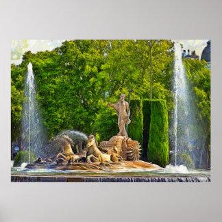 Neptune Fountain in Madrid. Poster