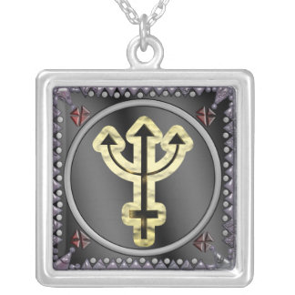 neptune sigil silver plated necklace