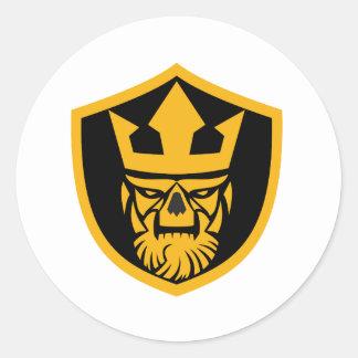 Neptune Skull Front Shield Classic Round Sticker