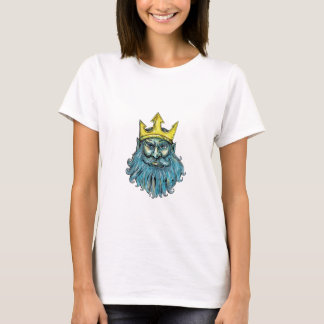 Neptune Trident Crown Head  Woodcut T-Shirt