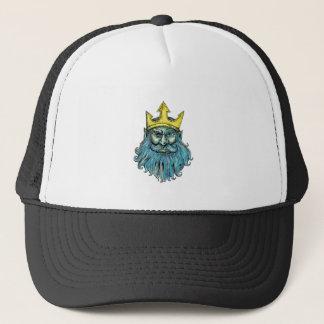 Neptune Trident Crown Head  Woodcut Trucker Hat
