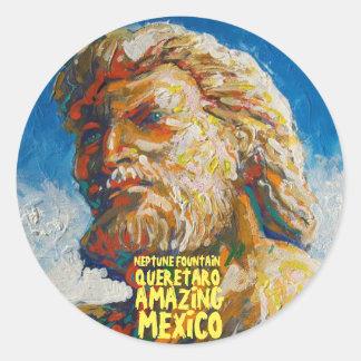 Neptune's fountain Santiago de  Queretaro, Round Sticker