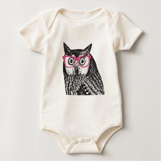 Nerd Bird Vintage Graphic Owl Baby Creeper