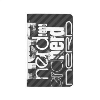 Nerd; Black & Dark Gray Stripes Journals