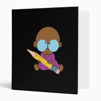 Nerd boy big glasses & pencil vinyl binder