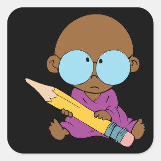 Nerd boy big glasses & pencil square sticker