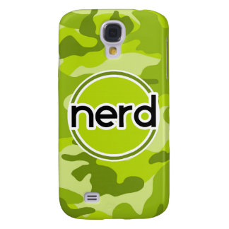 Nerd; bright green camo, camouflage galaxy s4 covers
